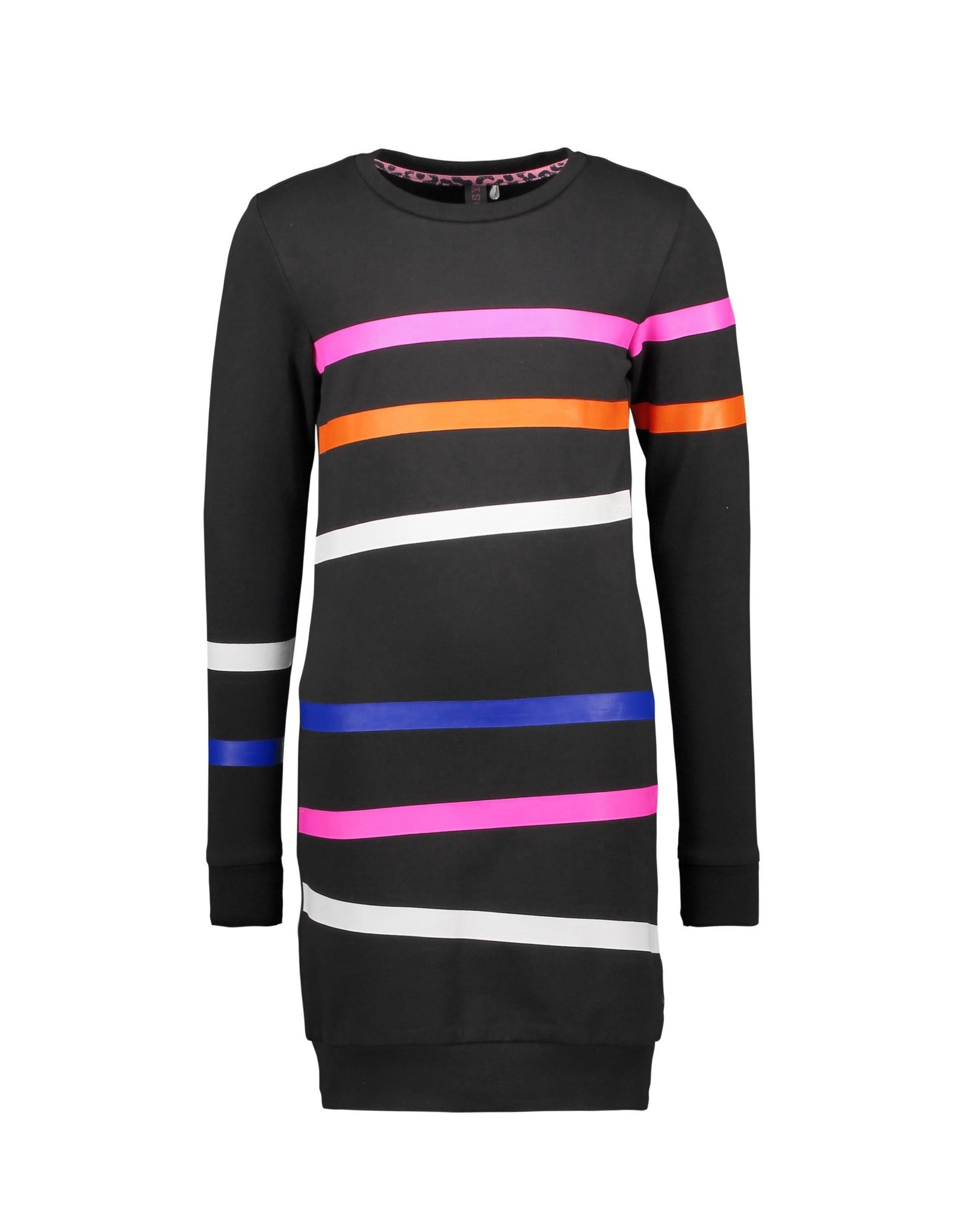 B-nosy Girls sweat dress with printed stipes on body and sleeves 099 Black
