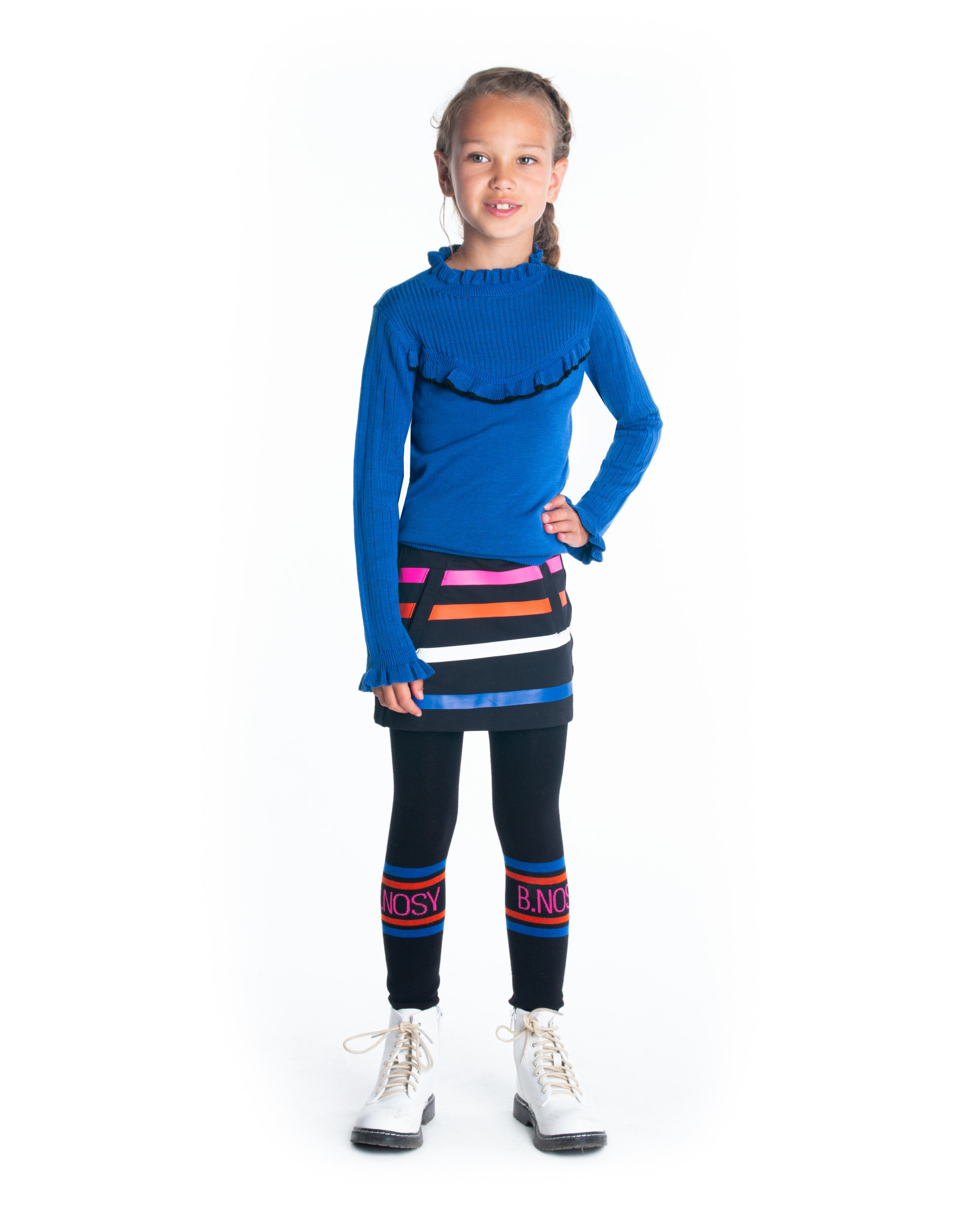 B-nosy Gils knitted pullover with v-shaped ruffle 183 Cobalt blue