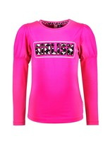 B-nosy Girls t-shirt with puffed sleeves and chest artwork 275 Pink glo