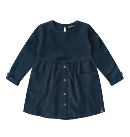 Your Wishes Navy - Waffle | Button Dress