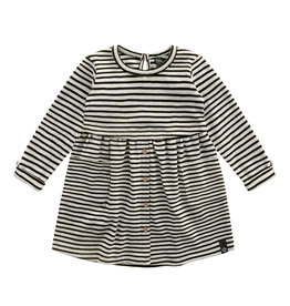 Your Wishes Beige - Stripes | Button Dress Chalk