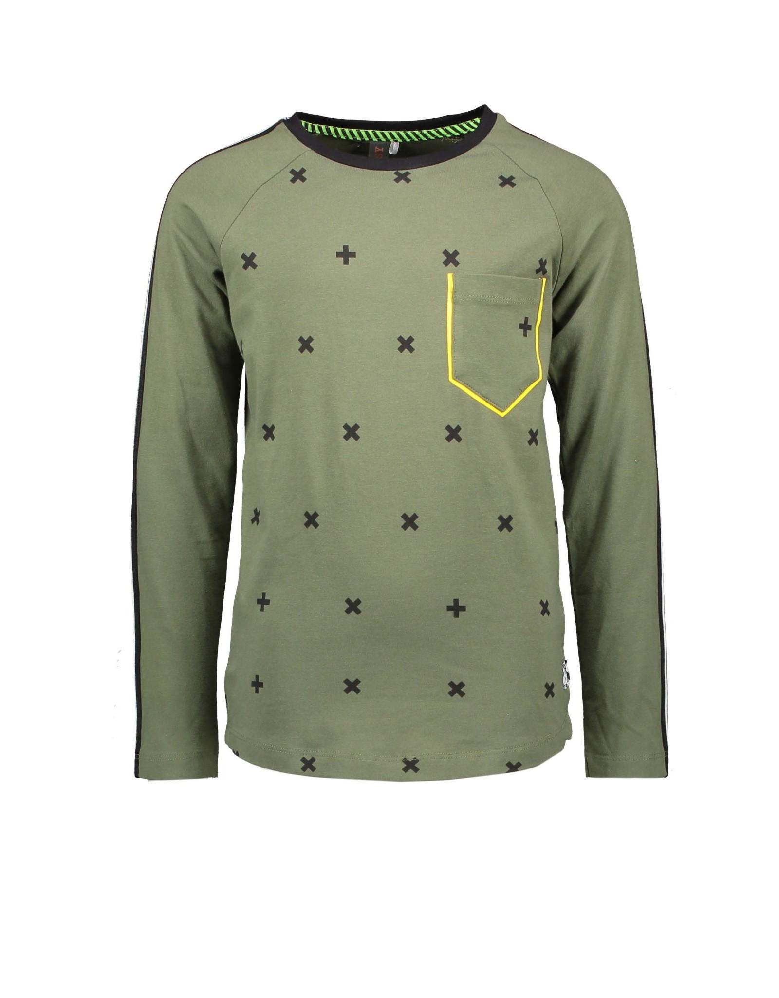 B-nosy Boys extra long raglan t-shirt with cross aop body 352 Cross army