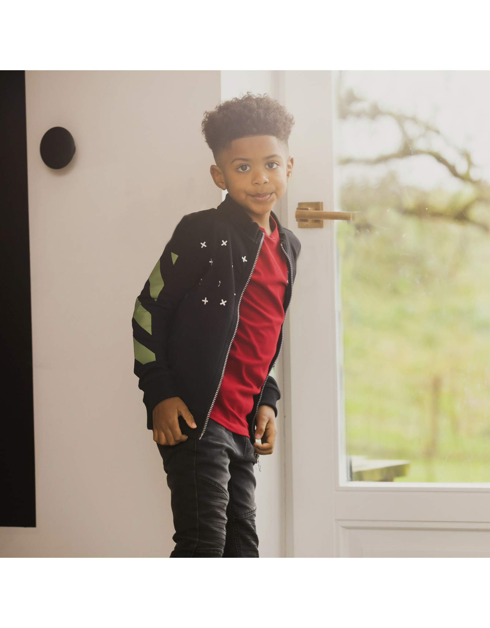 B-nosy Boys cardigan with printed stripes on the sleeves 099 Black