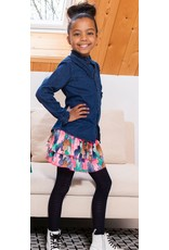 B-nosy Girls aop woven skirt with smocked wb and layers 563 Leaf cover