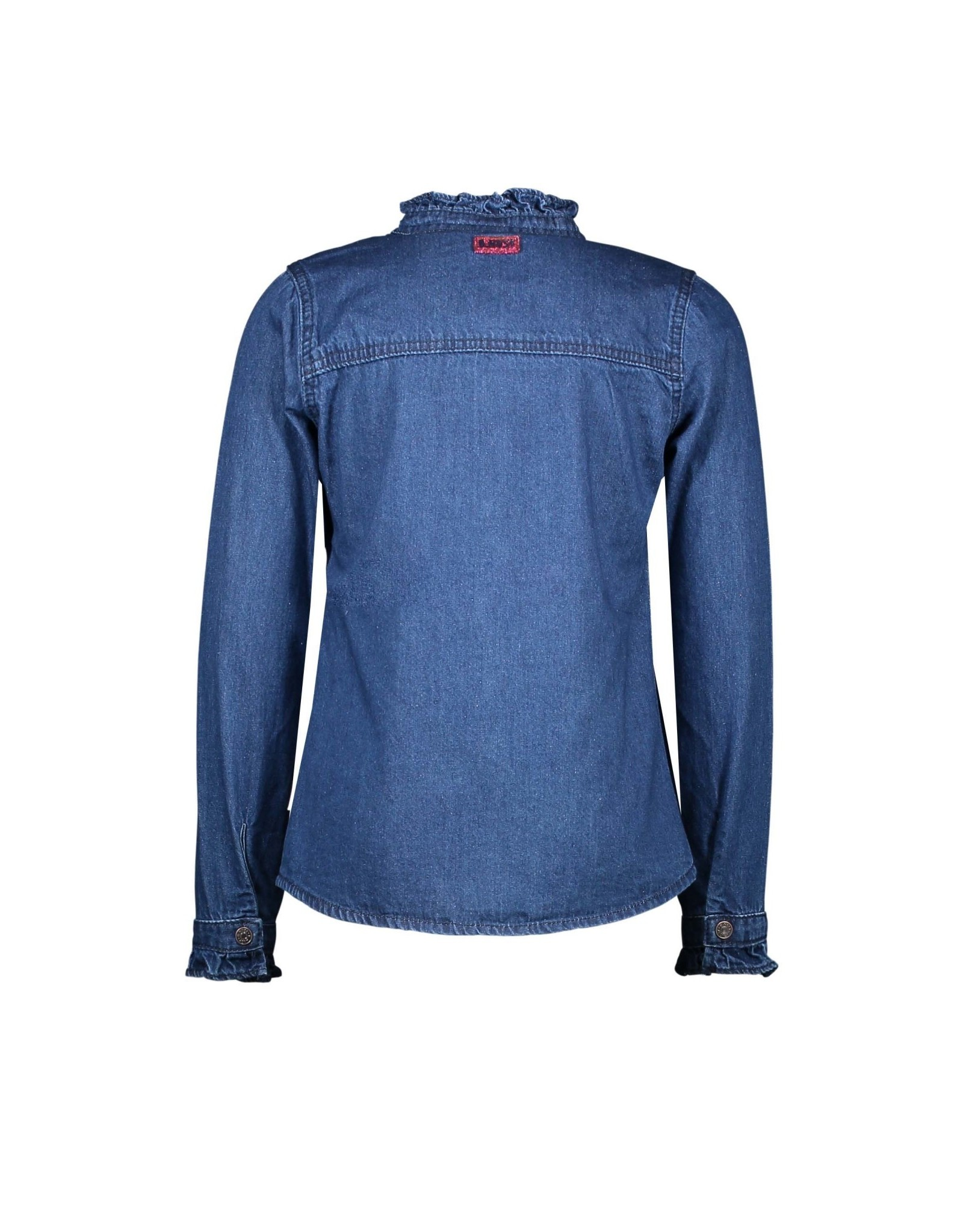 B-nosy Girls denim blouse with ruffle at chest 193 Mid blue