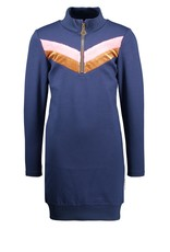 B-nosy Girls sweat dress with v-shaped stripe and zipper at neck 146 Space blue