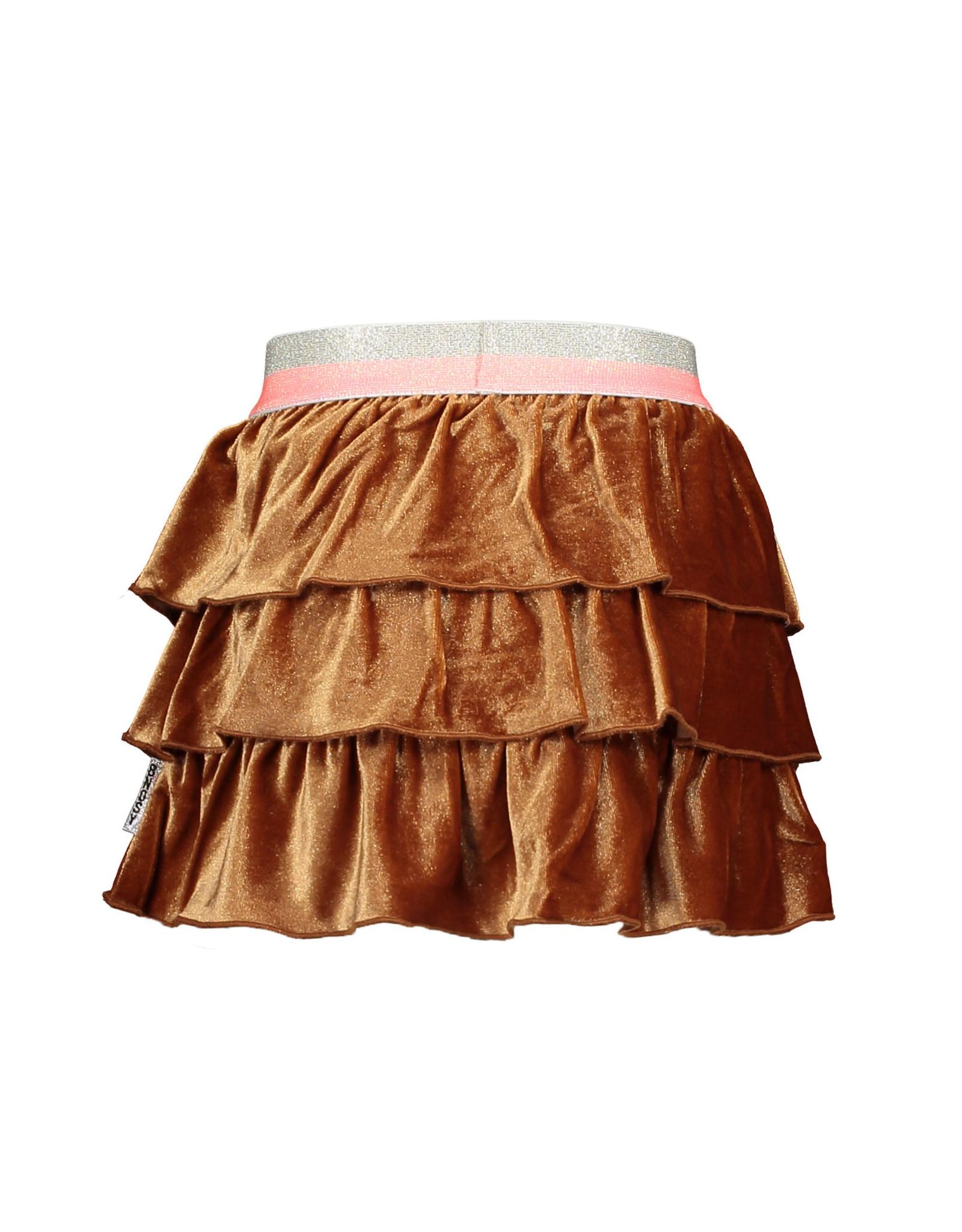 B-nosy Girls glitter velvet skirt with layers 575 Camel