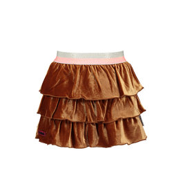 B-nosy Girls glitter velvet skirt with layers 575 Camel