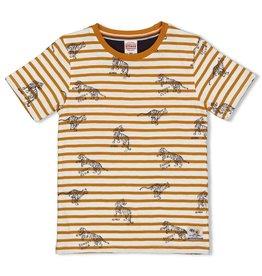 Sturdy T-shirt streep - Happy Camper Okergeel