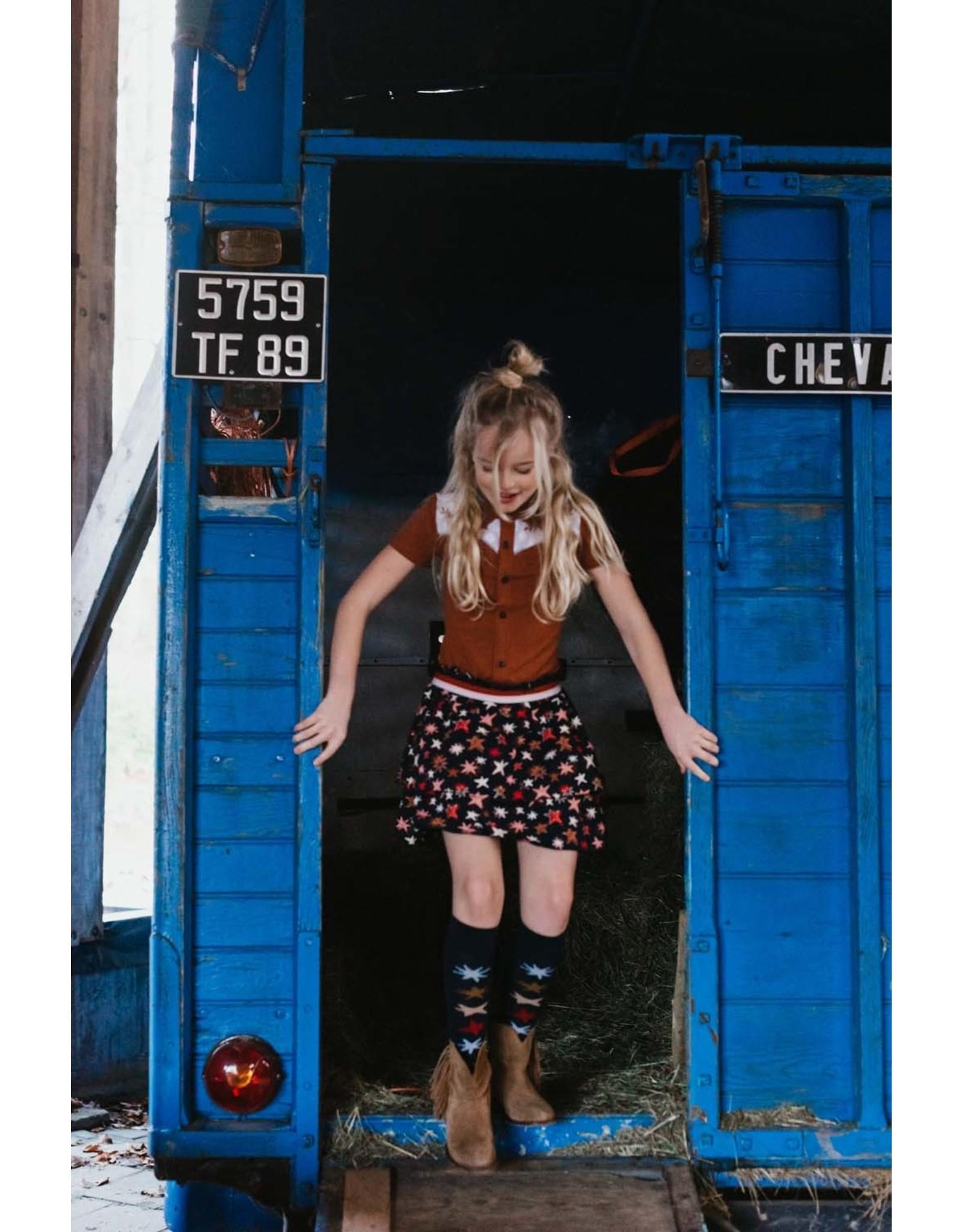 Topitm Gabriella socks AOP star blue/ brown