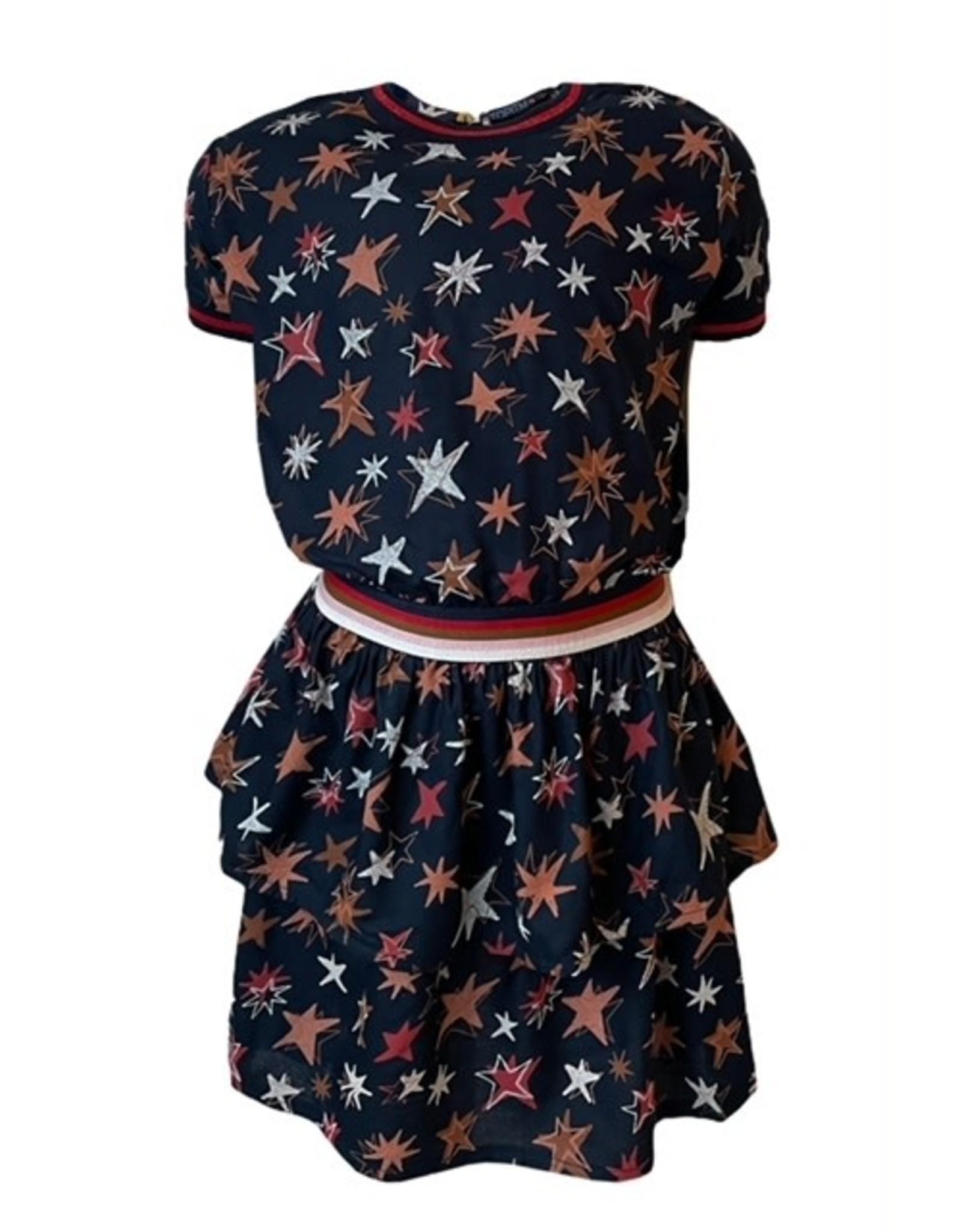 Topitm Allison Dress Dark blue AOP star