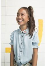 Like Flo Flo girls light denim ss knotted blouse 135 Light Blue