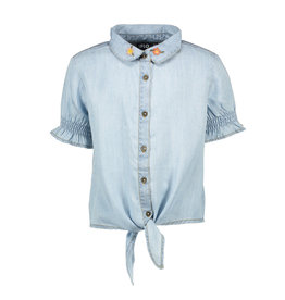 Like Flo Flo girls light denim ss knotted blouse 135 Light Blue