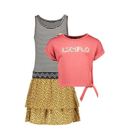 Like Flo Flo girls 2pc light sweat knotted sweater dress 205 Blush