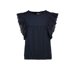 Like Flo Flo girls jersey broidery anglais ruffle top 190 Navy