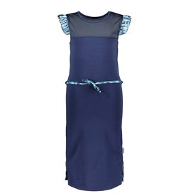 B-nosy Girls sweat dress with sporty mesh c&s and belt 146 space blue