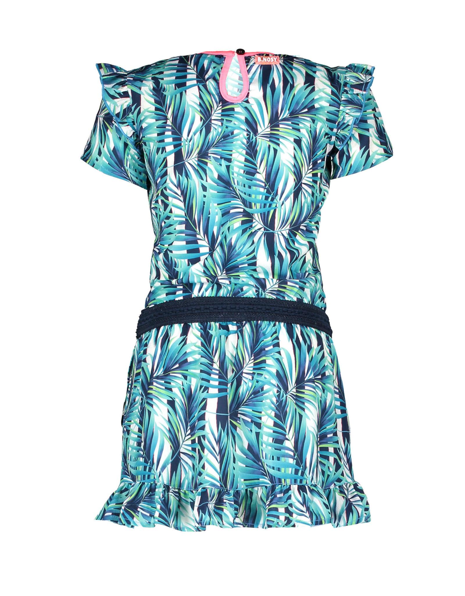 B-nosy Girls tropical palm ao dress with ruffle 331 Tropical palm ao