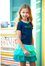 B-nosy Girls t-shirt with tropical palm ao backside 146 space blue