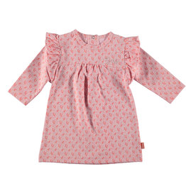 BESS Dress l. sl. AOP Flower Ruffles Pink
