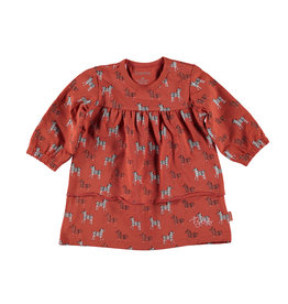 BESS Dress l. sl. AOP Zebra Rusty