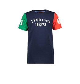 Tygo & vito T&v T-shirt contrast sleeves 190 Navy