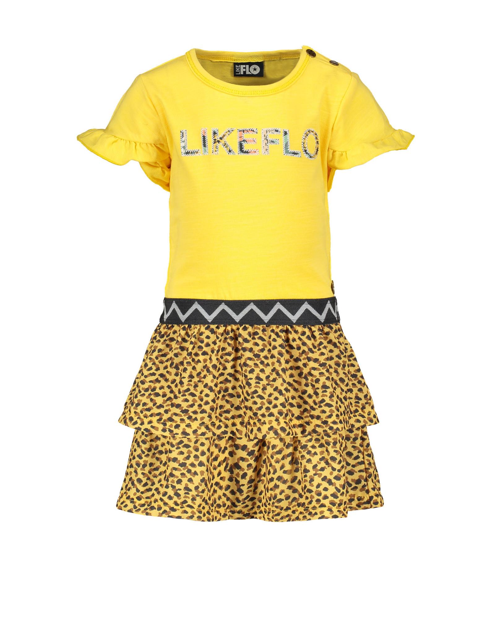 Like Flo Flo baby girls jersey dress with panter skirt 520 Honey