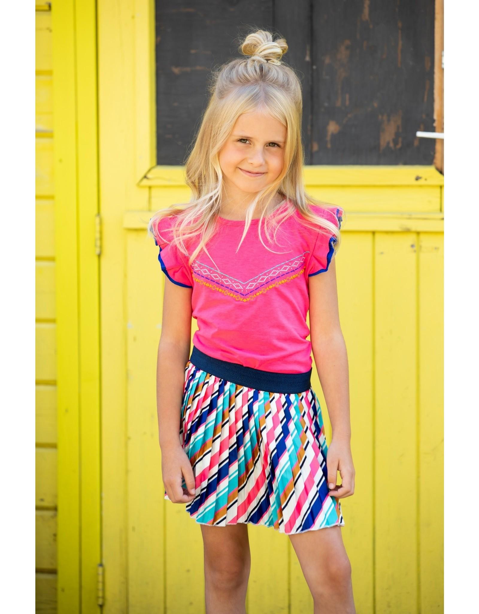 B-nosy Girls satin skirt with slanted stripe 035 Striped curious