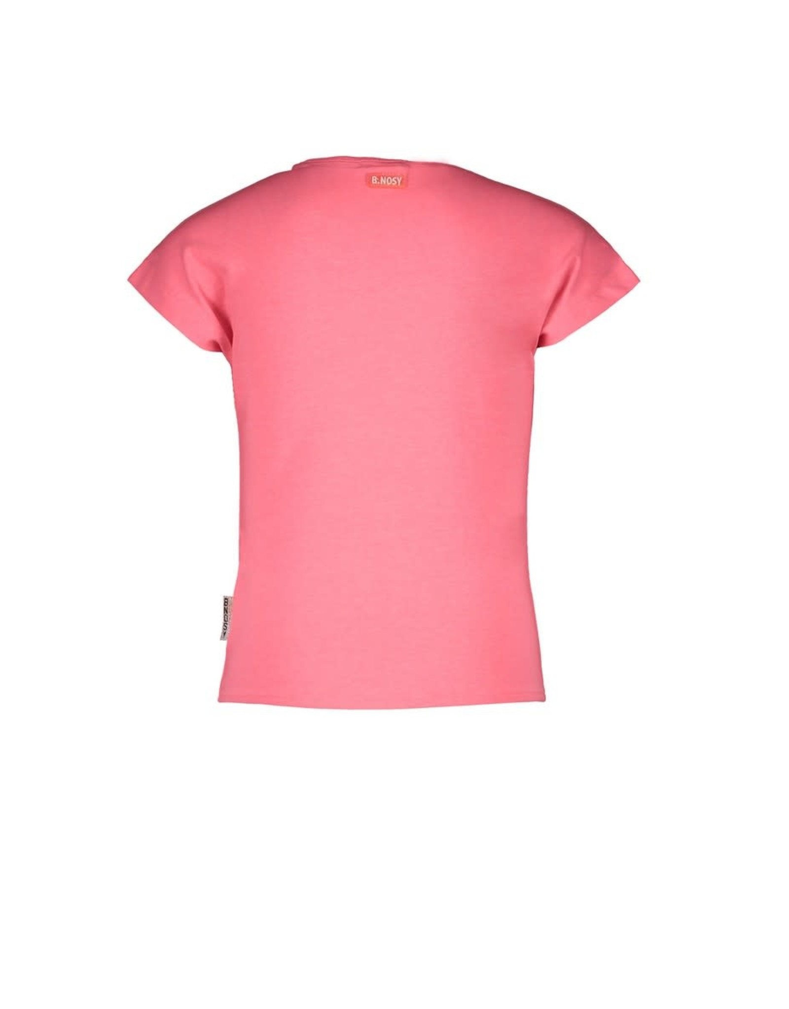 B-nosy Girls t-shirt with big flower embroidery and knot 290 Festival pink