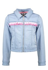 B-nosy Girls denim jacket with silver vertical ruffle 118 Light denim