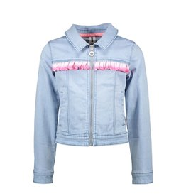 B-nosy Girls denim jacket with silver vertical ruffle 118 Light denim
