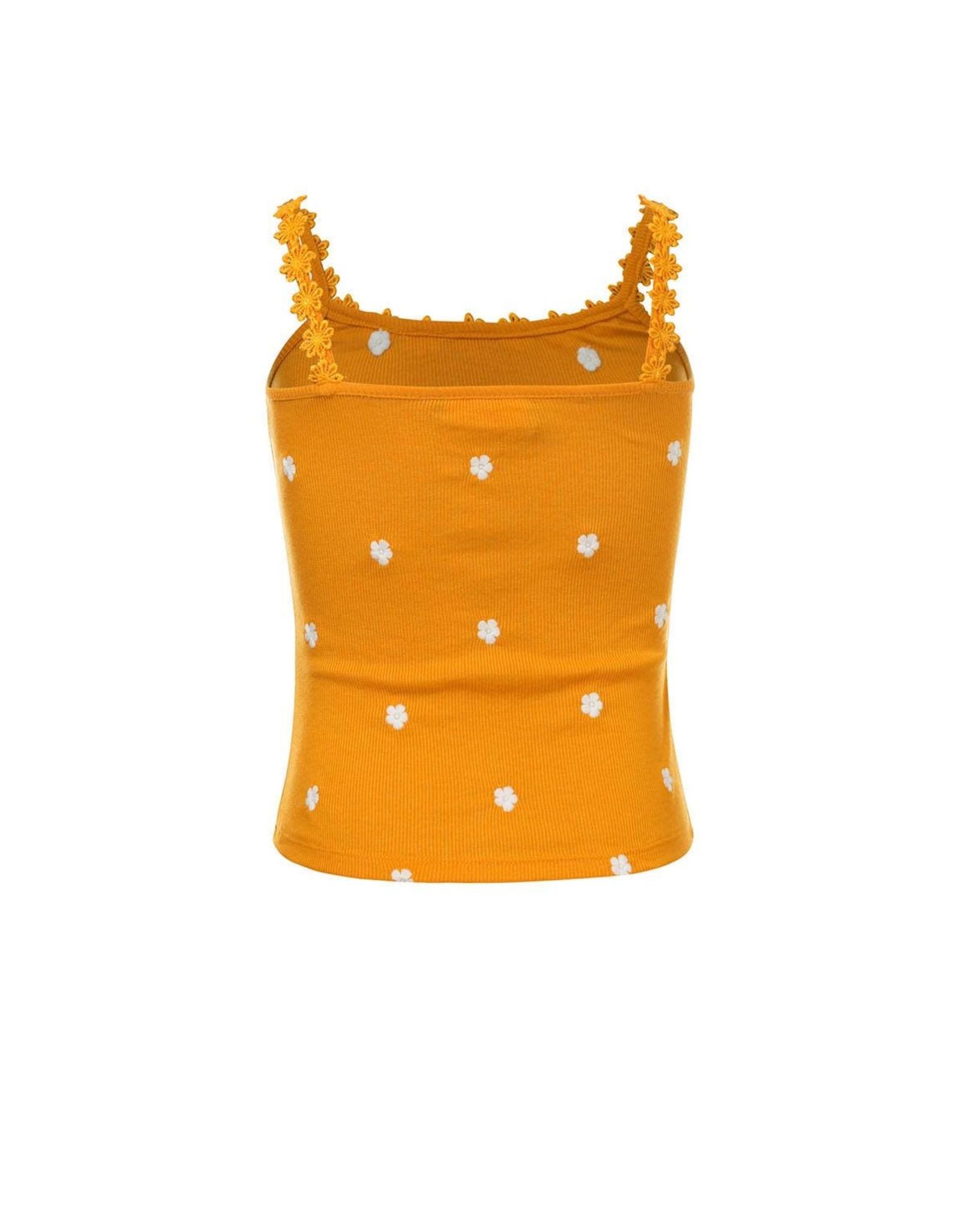 Looxs 10Sixteen rib singlet with daisy sunflower