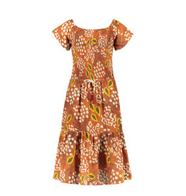 Like Flo Flo girls AO woven smock maxi dress 440 Cognac papaya