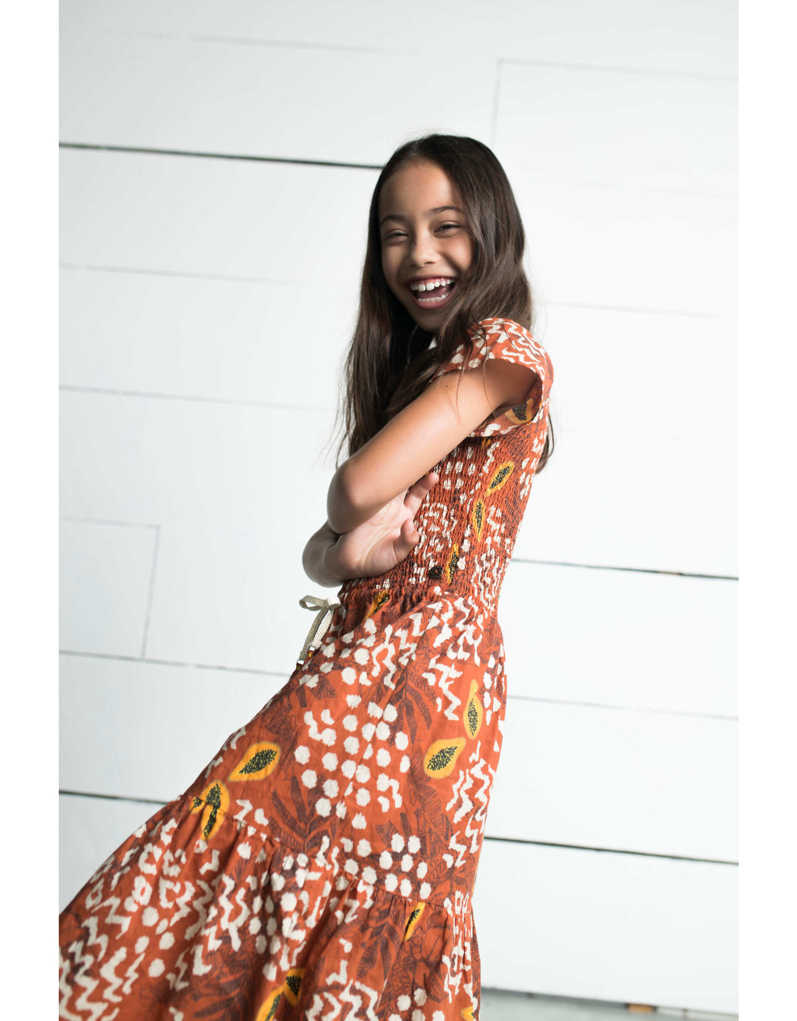 Like Flo Flo girls AO woven smock maxi dress 440 Cognac papaya