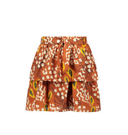 Like Flo Flo girls AO woven 2 layer skirt + belt 440 Cognac papaya