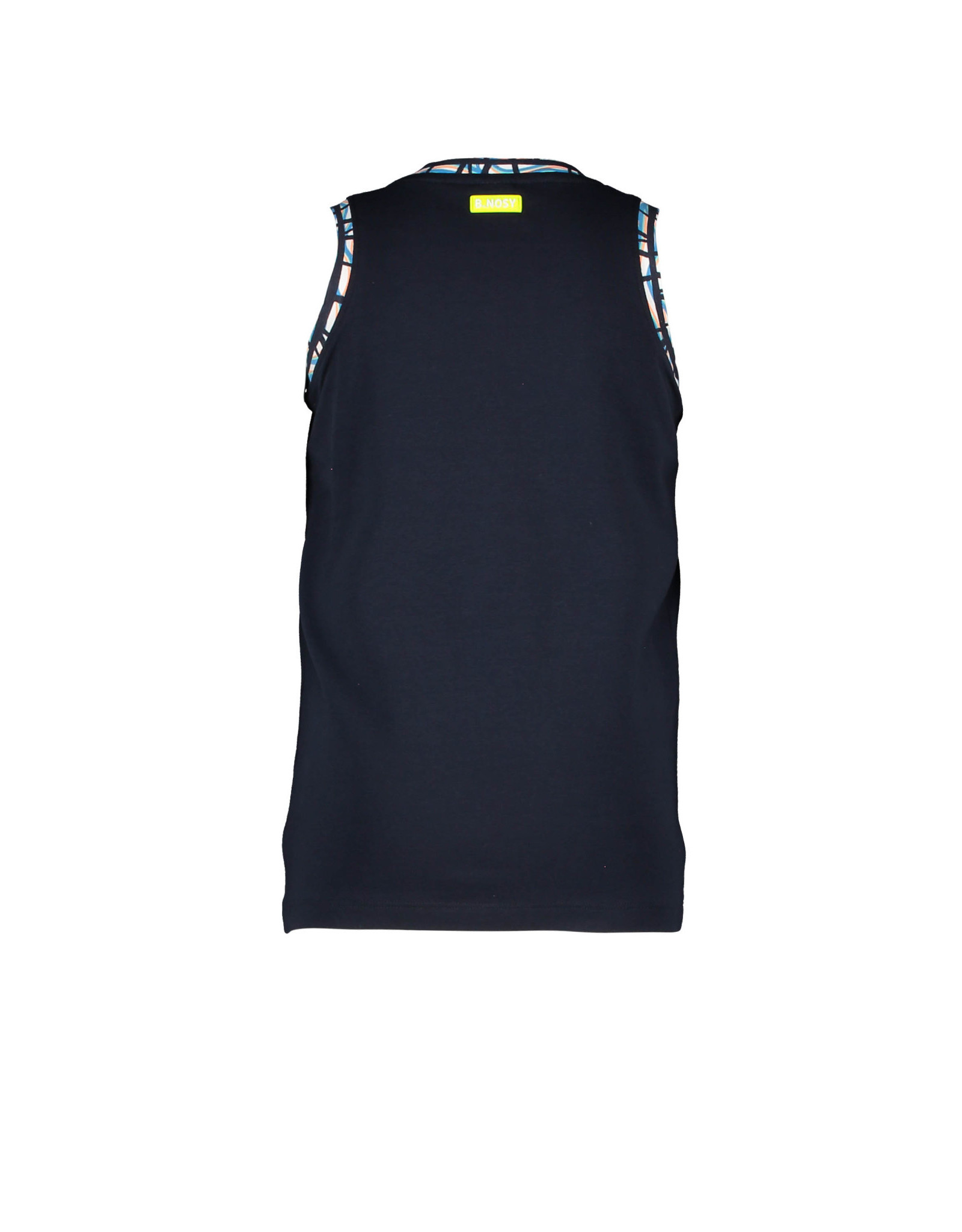 B-nosy Boys tank top with artwork on chest 129 Oxford blue