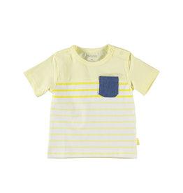 BESS Shirt sh.sl. Striped with Pocket Yellow