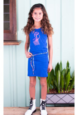 B-nosy Girls dress with belt and embroidery on chest 183 Cobalt blue