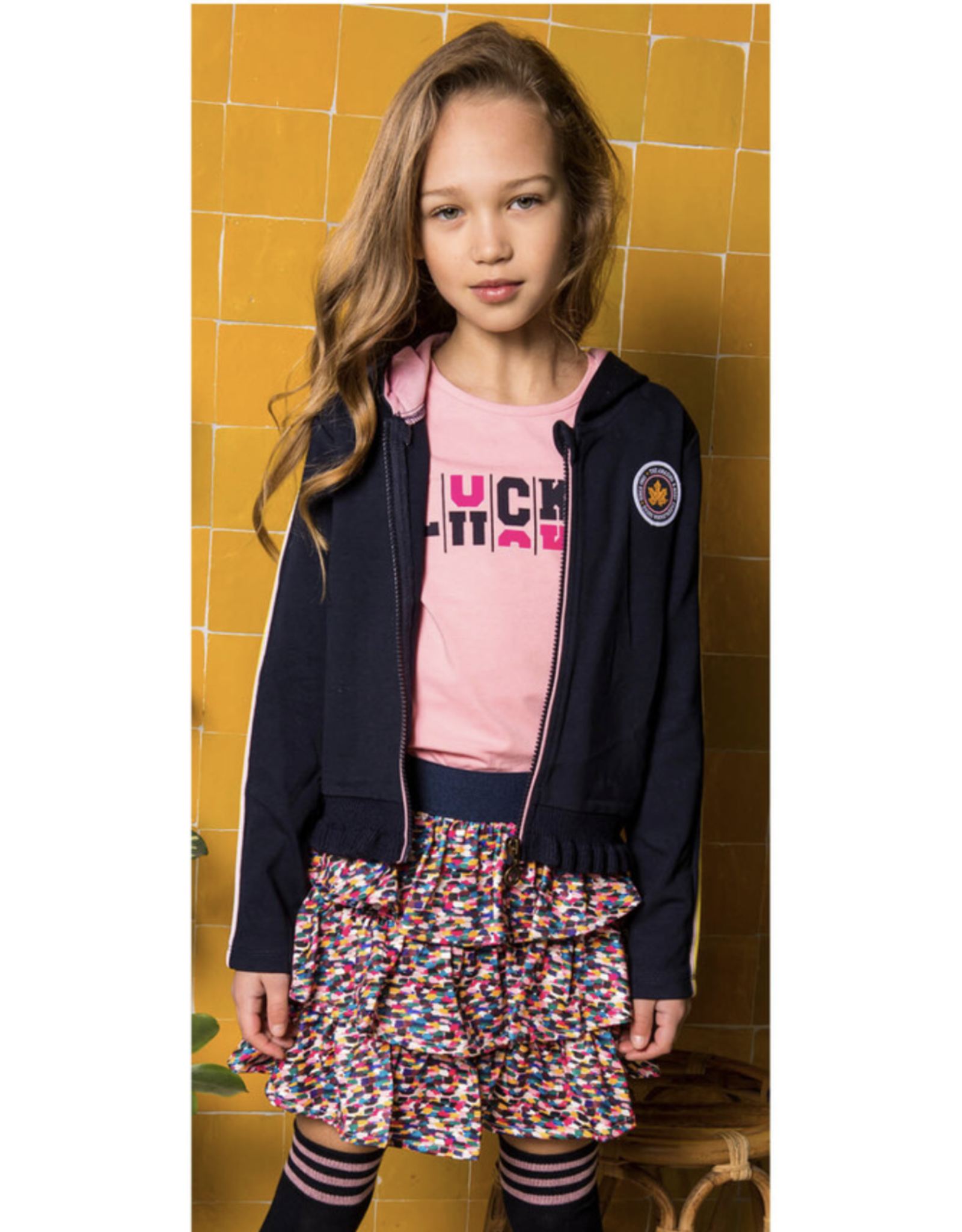 B-nosy Girls shirt with print stripe on sleeve, print front 228 punch pink B.Sporty