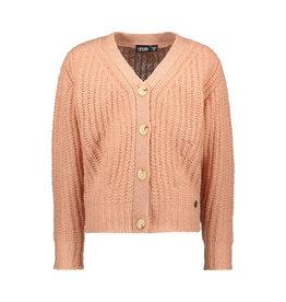 Like Flo Flo girls rib knit cardigan horn button Powder pink