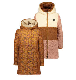 Like Flo Flo girls reversible colourblock hooded long jacket Camel