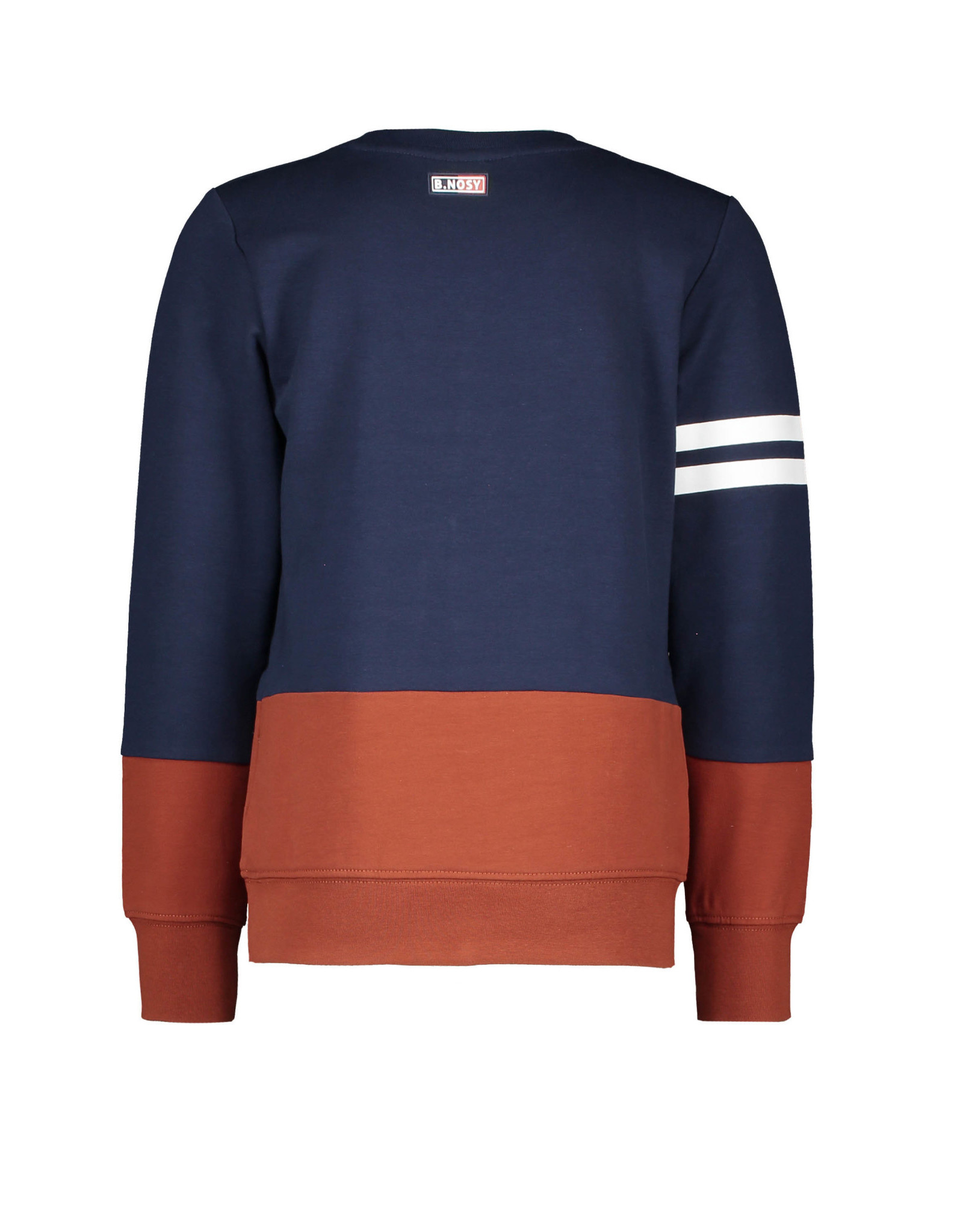 B-nosy Boys crewneck sweater with cut and sew and frotte artwork 146 space blue