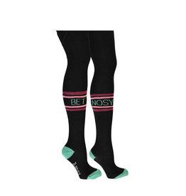 B-nosy Girls B.Better thight with tekst stripe on knee 099 Black