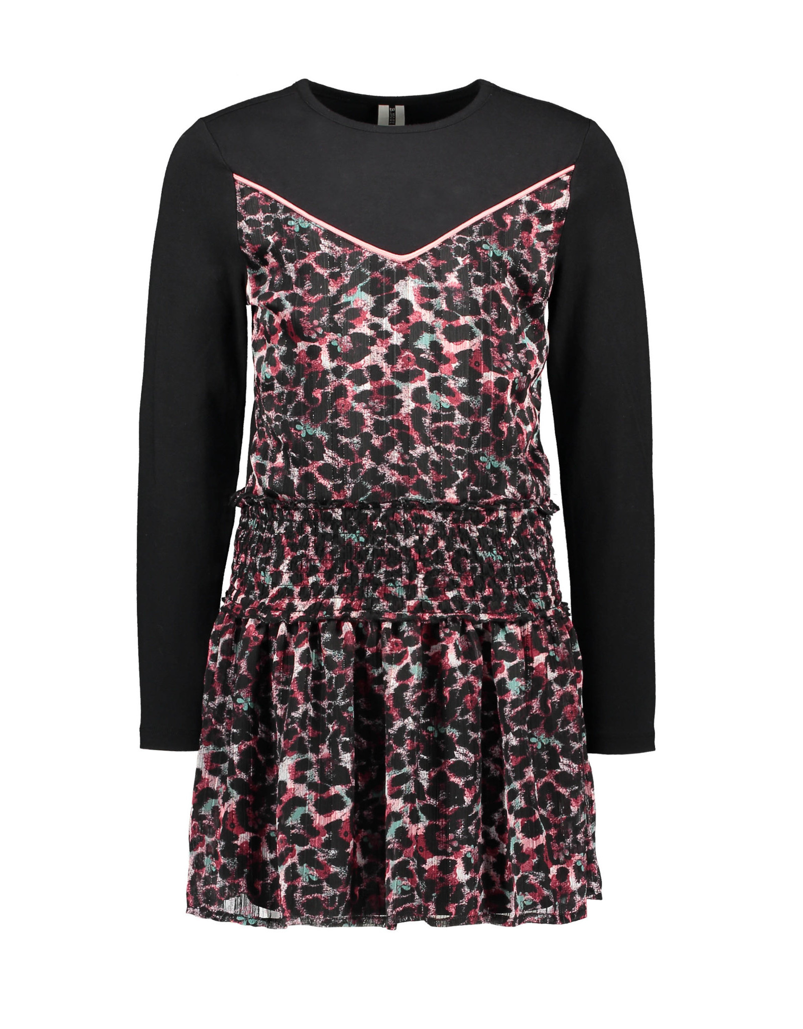 B-nosy Girls dress with top part knitting and skirt part woven 088 brushed AO