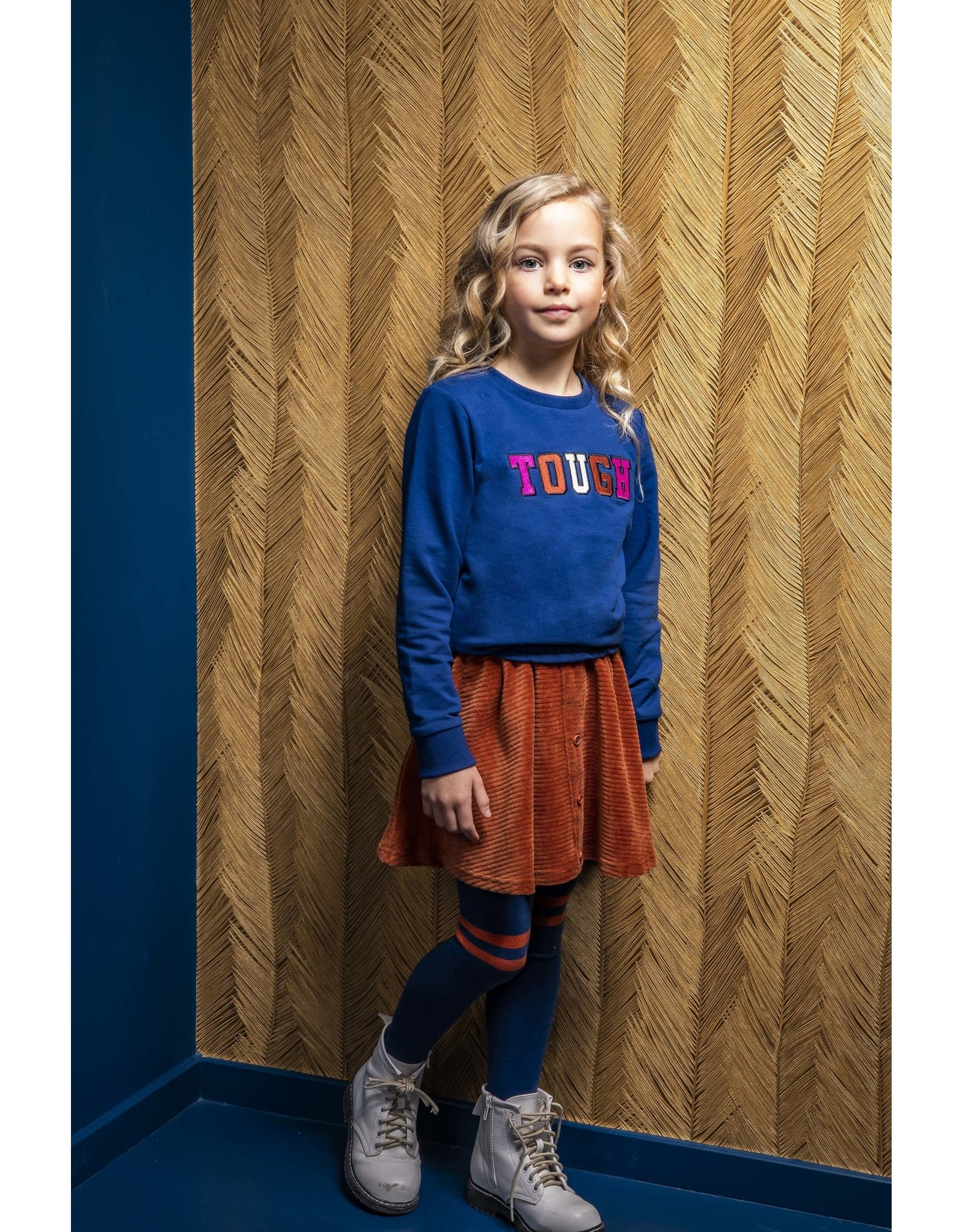 B-nosy Girls top wtih thick embroidery and smocked hem 159 Lake Blue