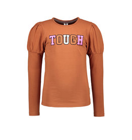 B-nosy Girls t-shirt with puffed sleeves and thick embroidery 575 Camel