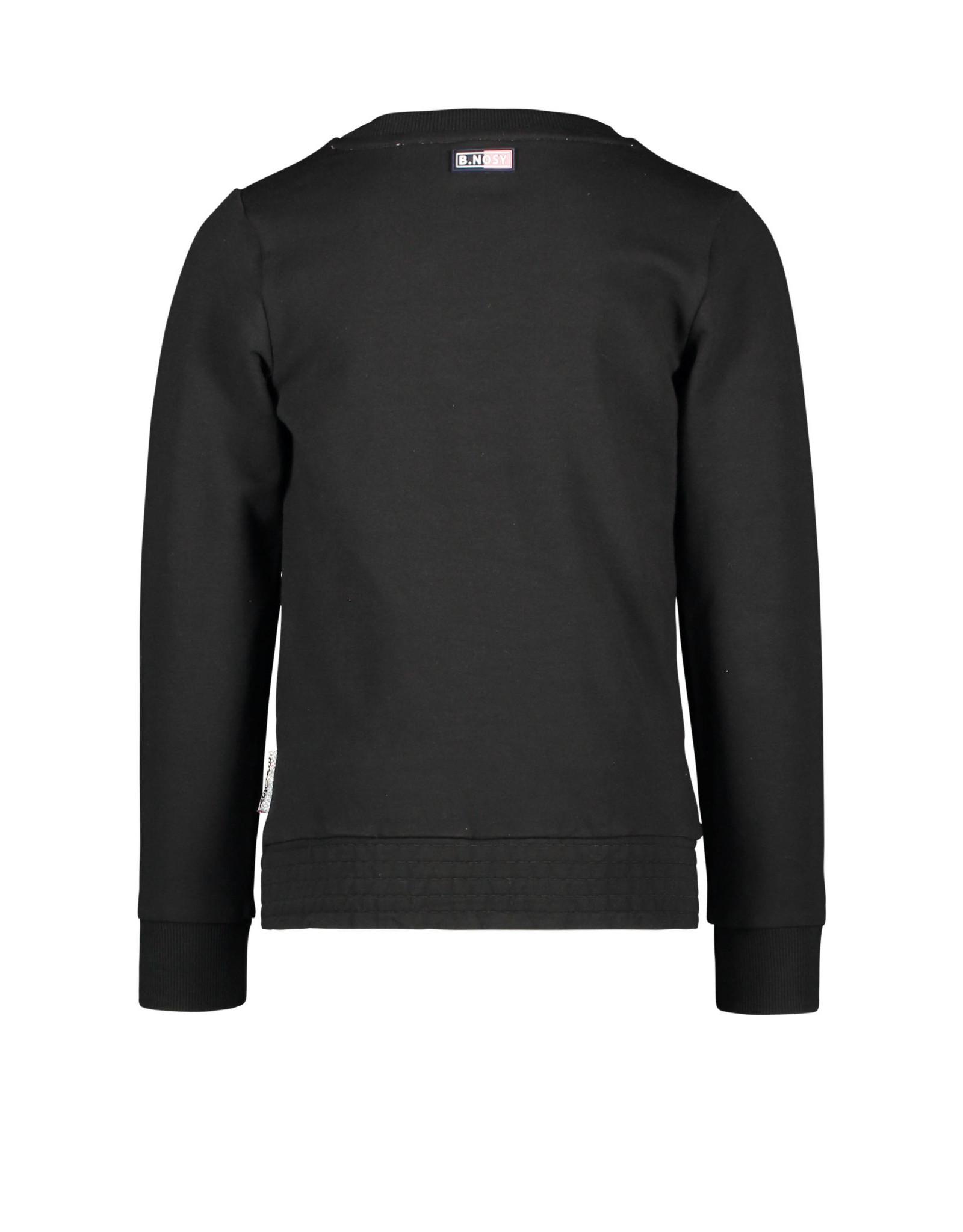 B-nosy Girls sweater with fancy artwork, full elasticated wb 099 Black
