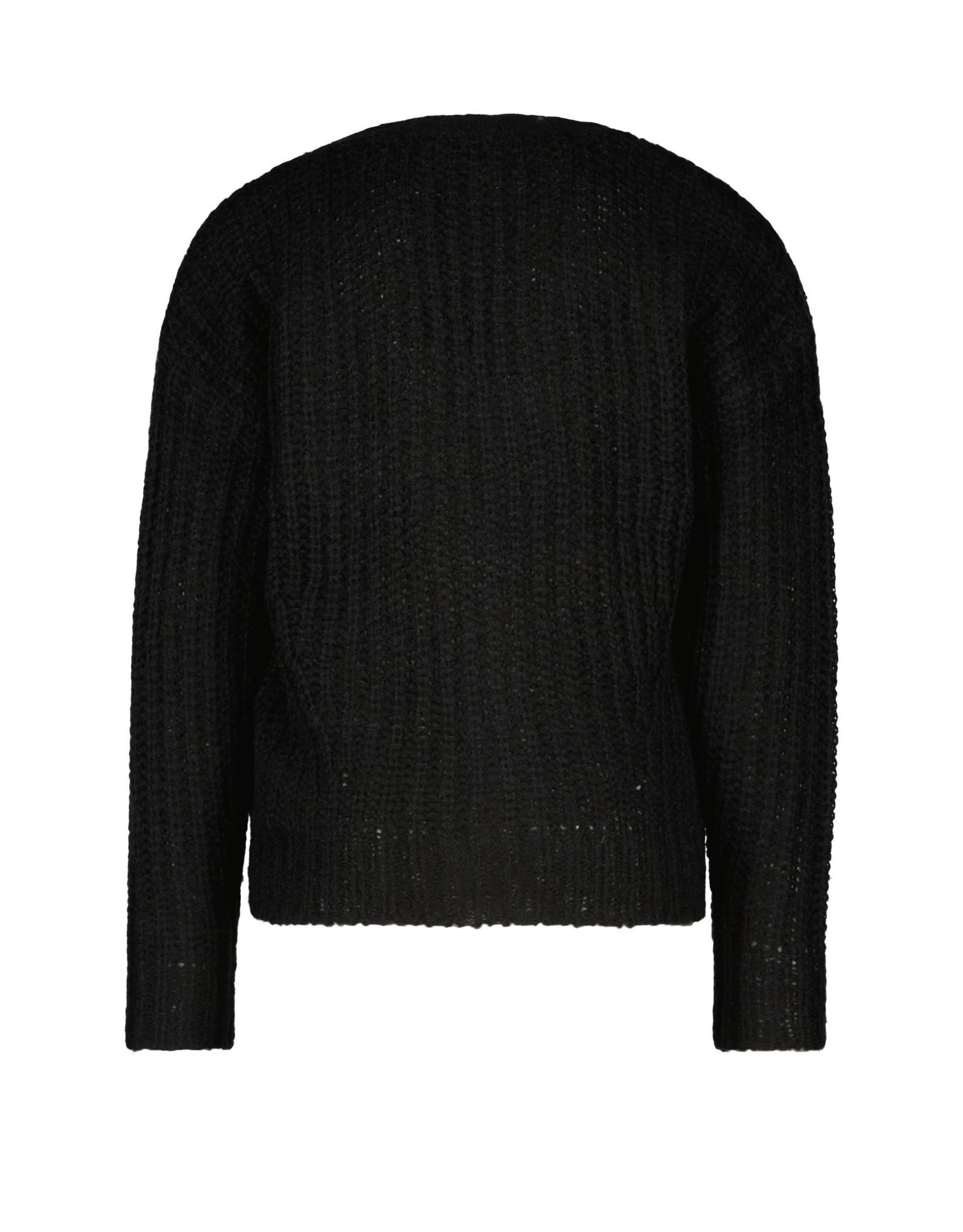 Like Flo Flo girls rib knit cardigan horn button Nearly black