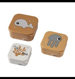 Done by Deer Snack box set 3 pcs Sea friends Mustard/Grey