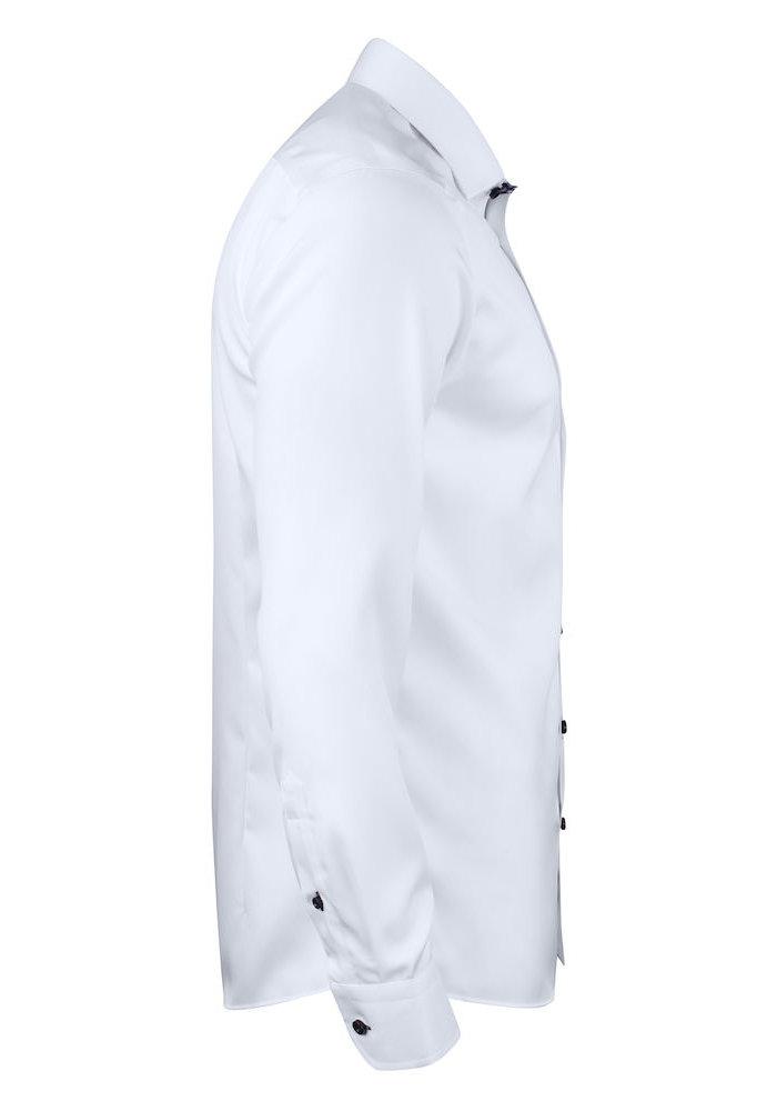 Red Bow 20 Slim Fit Overhemd Wit Met Navy Geblokte Kraag