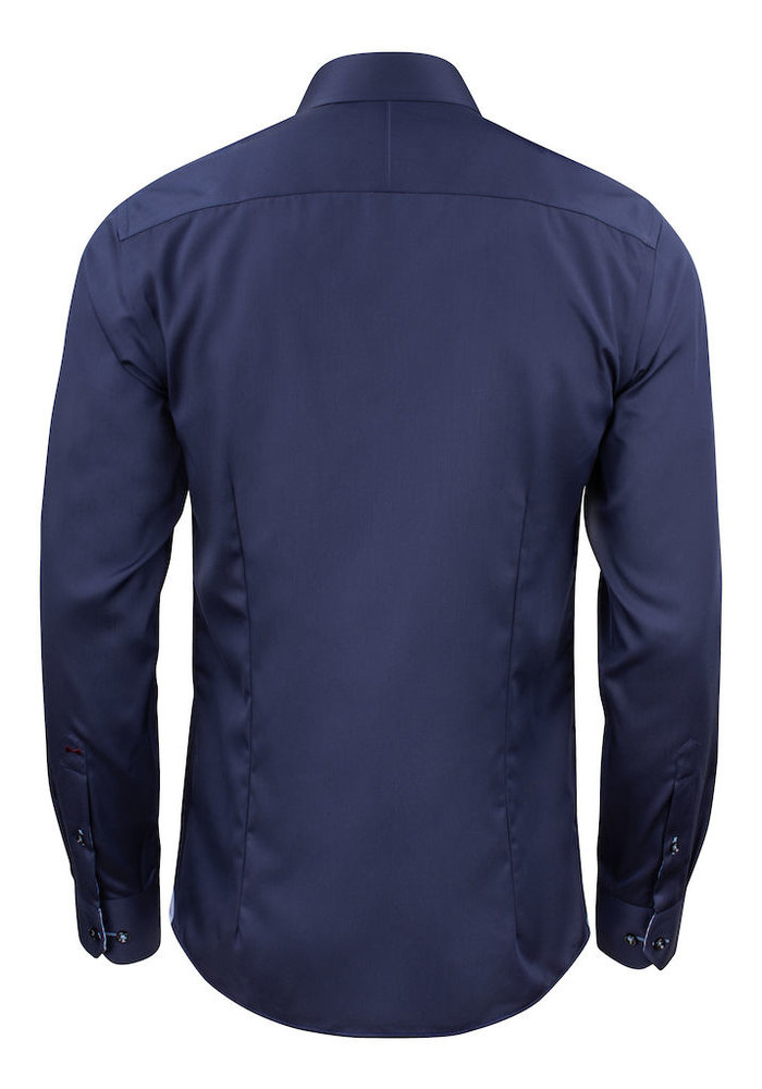 Red Bow 20 Slim Fit Overhemd Navy Blauw